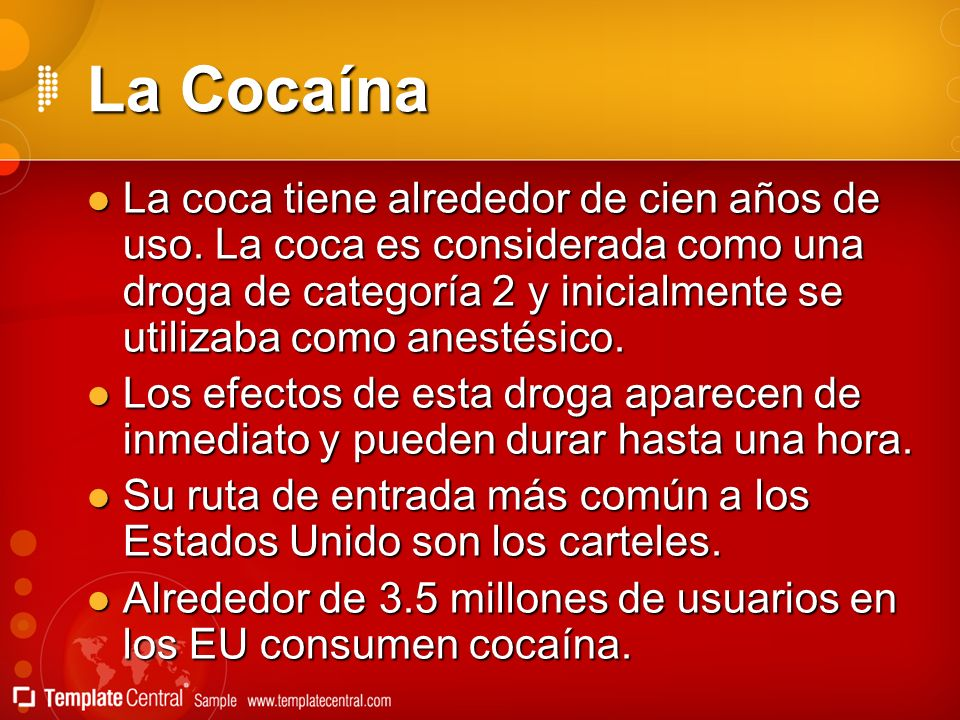 La Cocaína La coca tiene alrededor de cien años de uso. La coca es considerada como una droga de categoría 2 y inicialmente se utilizaba como anestési