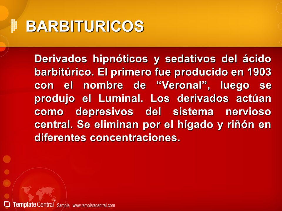 BARBITURICOS Derivados hipnóticos y sedativos del ácido barbitúrico. El primero fue producido en 1903 con el nombre de Veronal, luego se produjo el Lu