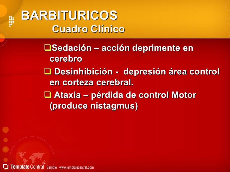 BARBITURICOS Cuadro Clínico Sedación – acción deprimente en cerebro Sedación – acción deprimente en cerebro Desinhibición - depresión área control en