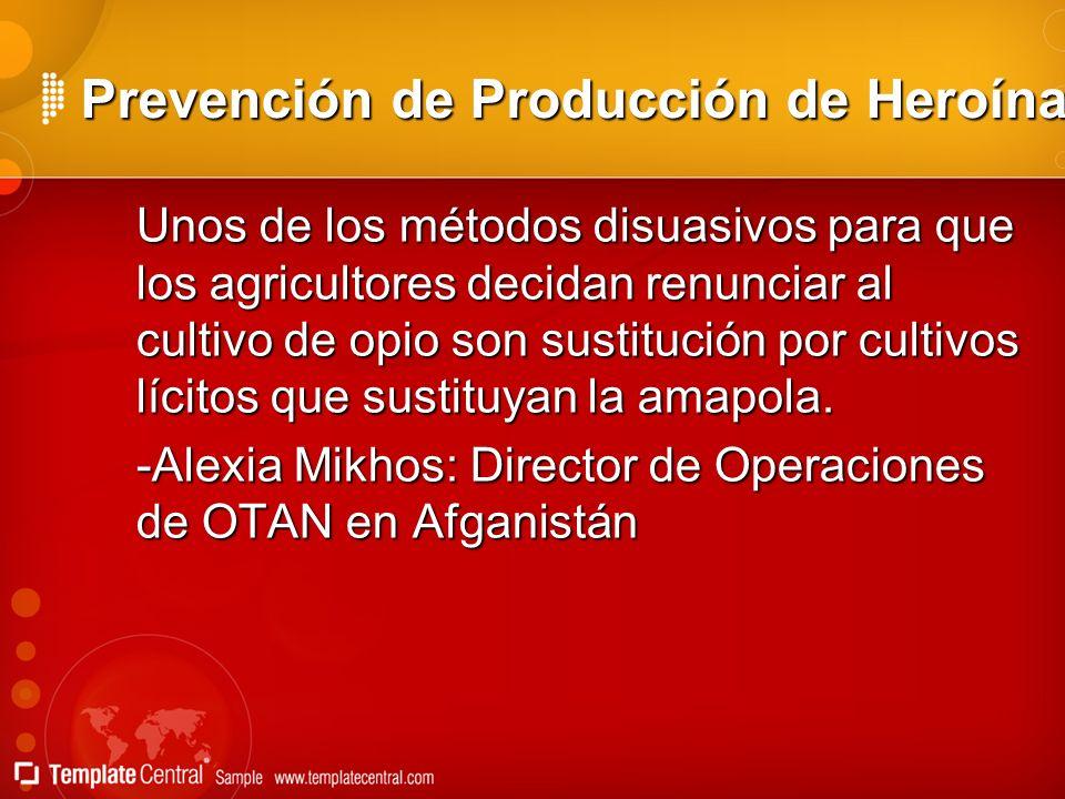 Prevención de Producción de Heroína Unos de los métodos disuasivos para que los agricultores decidan renunciar al cultivo de opio son sustitución por