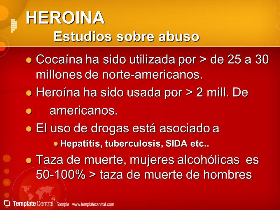 HEROINA Estudios sobre abuso Cocaína ha sido utilizada por > de 25 a 30 millones de norte-americanos. Cocaína ha sido utilizada por > de 25 a 30 millo