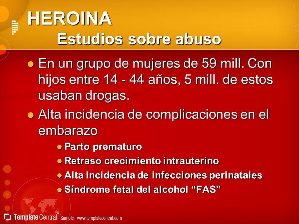 HEROINA Estudios sobre abuso En un grupo de mujeres de 59 mill. Con hijos entre 14 - 44 años, 5 mill. de estos usaban drogas. En un grupo de mujeres d