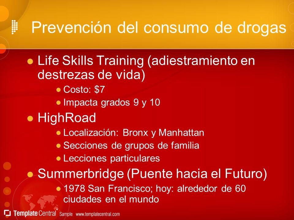 Prevención del consumo de drogas Life Skills Training (adiestramiento en destrezas de vida) Costo: $7 Impacta grados 9 y 10 HighRoad Localización: Bro
