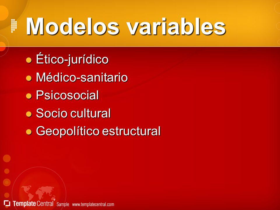 Modelos variables Ético-jurídico Ético-jurídico Médico-sanitario Médico-sanitario Psicosocial Psicosocial Socio cultural Socio cultural Geopolítico es