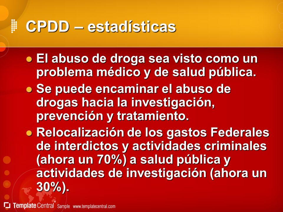 CPDD – estadísticas El abuso de droga sea visto como un problema médico y de salud pública. El abuso de droga sea visto como un problema médico y de s