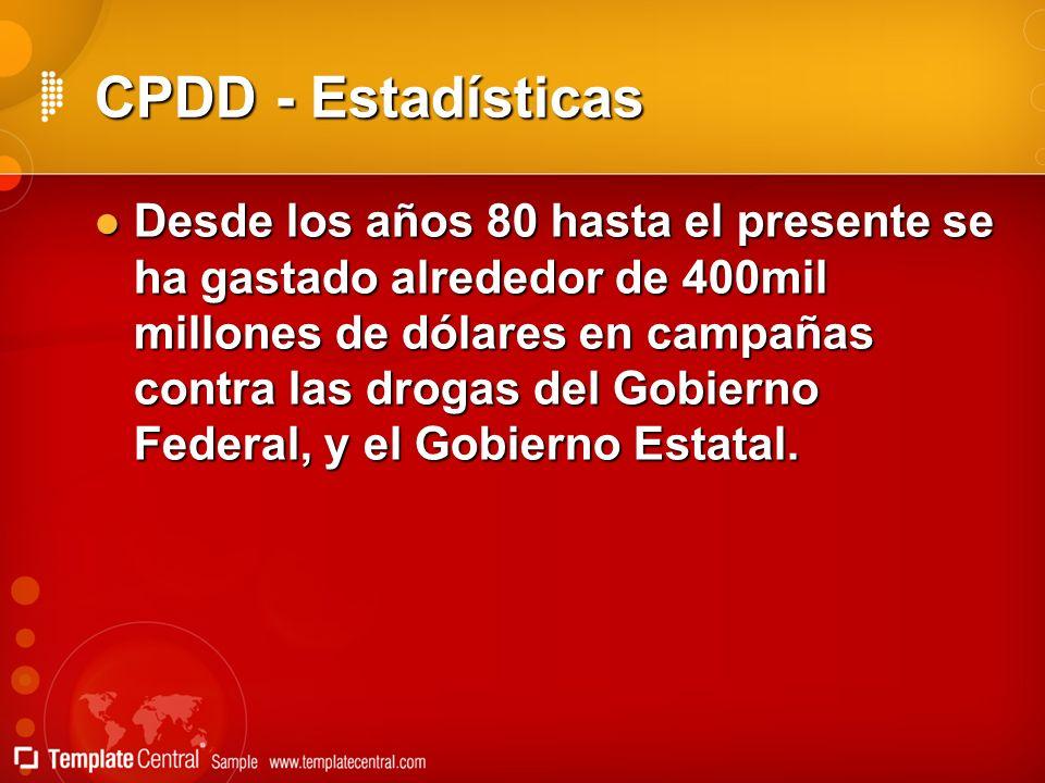 CPDD - Estadísticas Desde los años 80 hasta el presente se ha gastado alrededor de 400mil millones de dólares en campañas contra las drogas del Gobier