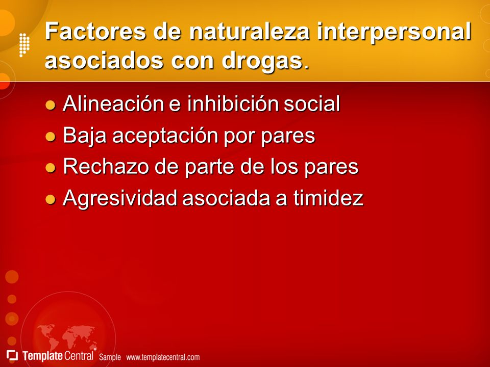 Factores de naturaleza interpersonal asociados con drogas. Alineación e inhibición social Alineación e inhibición social Baja aceptación por pares Baj