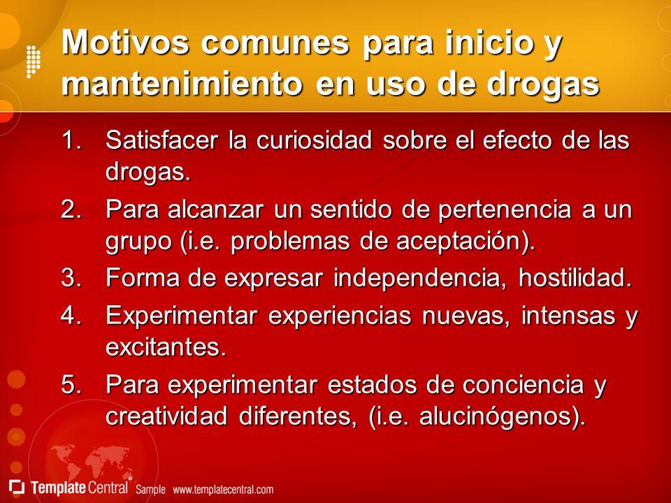 Motivos comunes para inicio y mantenimiento en uso de drogas 1.Satisfacer la curiosidad sobre el efecto de las drogas. 2.Para alcanzar un sentido de p