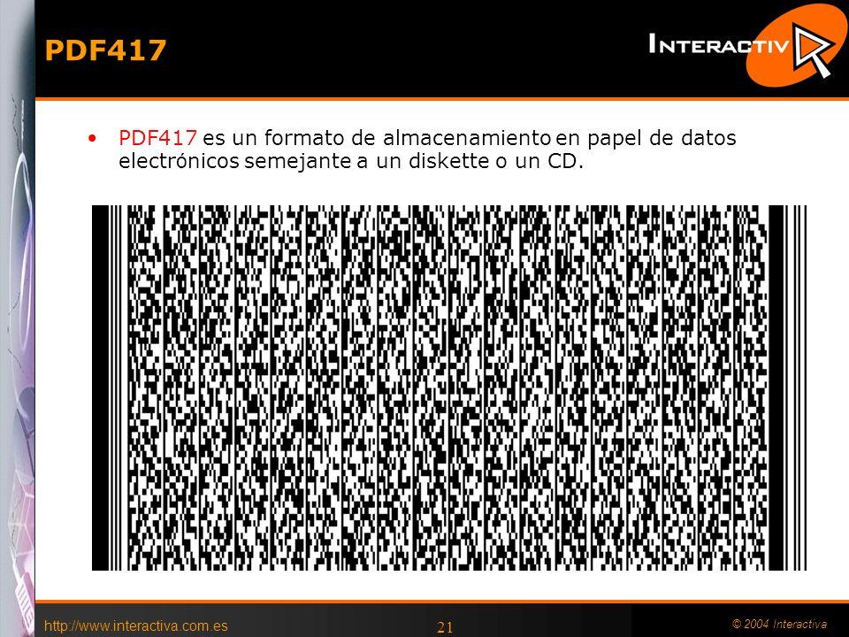 http://www.interactiva.com.es © 2004 Interactiva 21 PDF417 PDF417 es un formato de almacenamiento en papel de datos electr ó nicos semejante a un disk