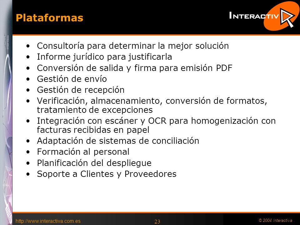 http://www.interactiva.com.es © 2004 Interactiva 23 Plataformas Consultoría para determinar la mejor solución Informe jurídico para justificarla Conve