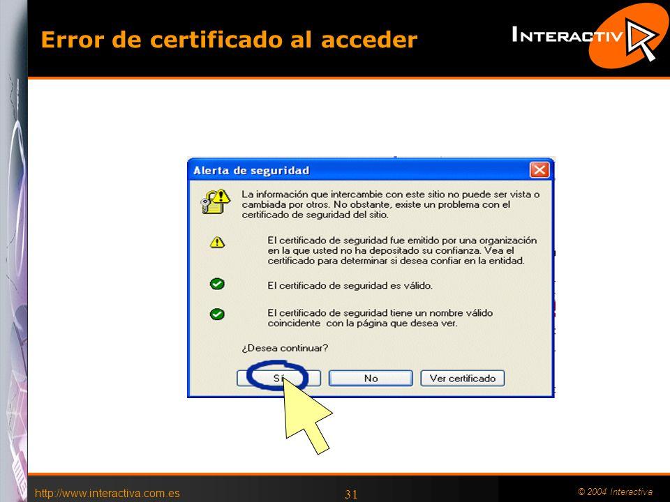 http://www.interactiva.com.es © 2004 Interactiva 31 Error de certificado al acceder