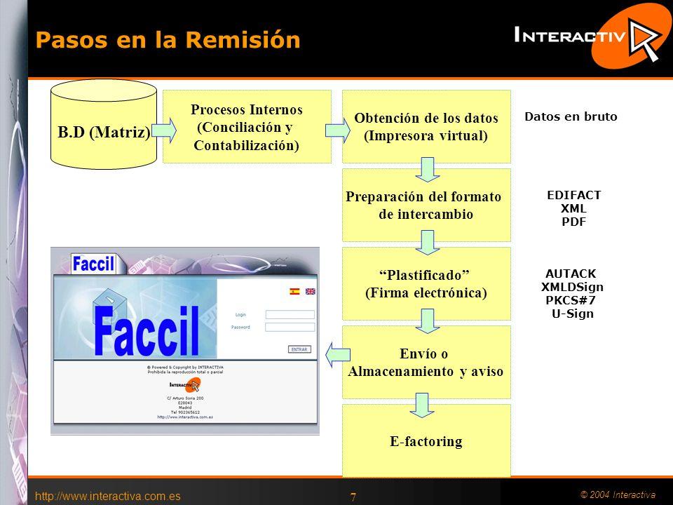 http://www.interactiva.com.es © 2004 Interactiva 7 Pasos en la Remisión Obtención de los datos (Impresora virtual) Preparación del formato de intercam