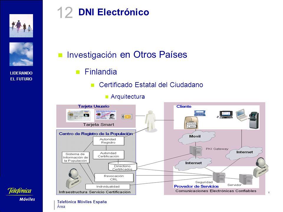 LIDERANDO EL FUTURO Telefónica Móviles España Área DNI Electrónico Investigación en Otros Países Finlandia Certificado Estatal del Ciudadano Arquitect