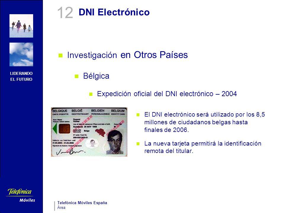 LIDERANDO EL FUTURO Telefónica Móviles España Área DNI Electrónico Investigación en Otros Países Bélgica Expedición oficial del DNI electrónico – 2004