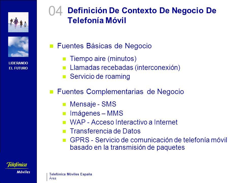 LIDERANDO EL FUTURO Telefónica Móviles España Área Definición De Contexto De Negocio De Telefonía Móvil Fuentes Básicas de Negocio Tiempo aire (minuto