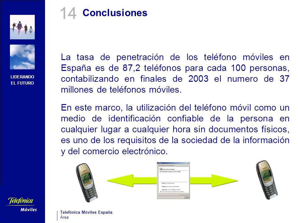 LIDERANDO EL FUTURO Telefónica Móviles España Área Conclusiones La tasa de penetración de los teléfono móviles en España es de 87,2 teléfonos para cad