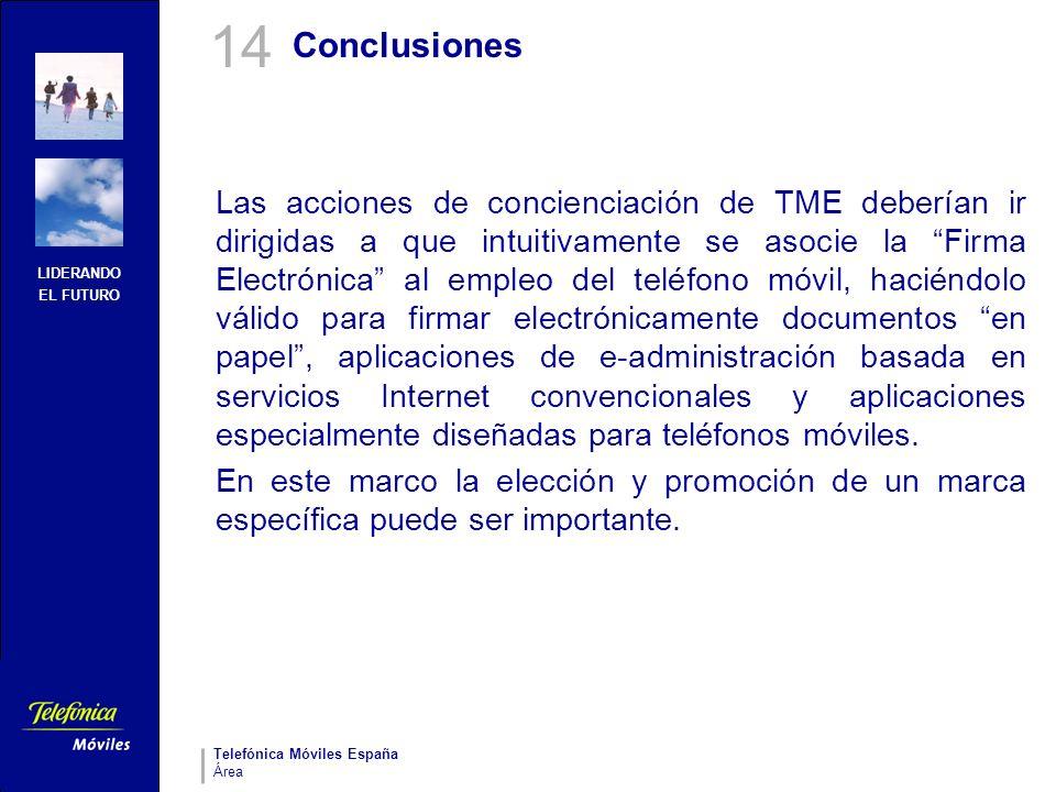 LIDERANDO EL FUTURO Telefónica Móviles España Área Conclusiones Las acciones de concienciación de TME deberían ir dirigidas a que intuitivamente se as