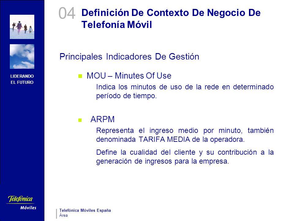LIDERANDO EL FUTURO Telefónica Móviles España Área Definición De Contexto De Negocio De Telefonía Móvil Principales Indicadores De Gestión MOU – Minut