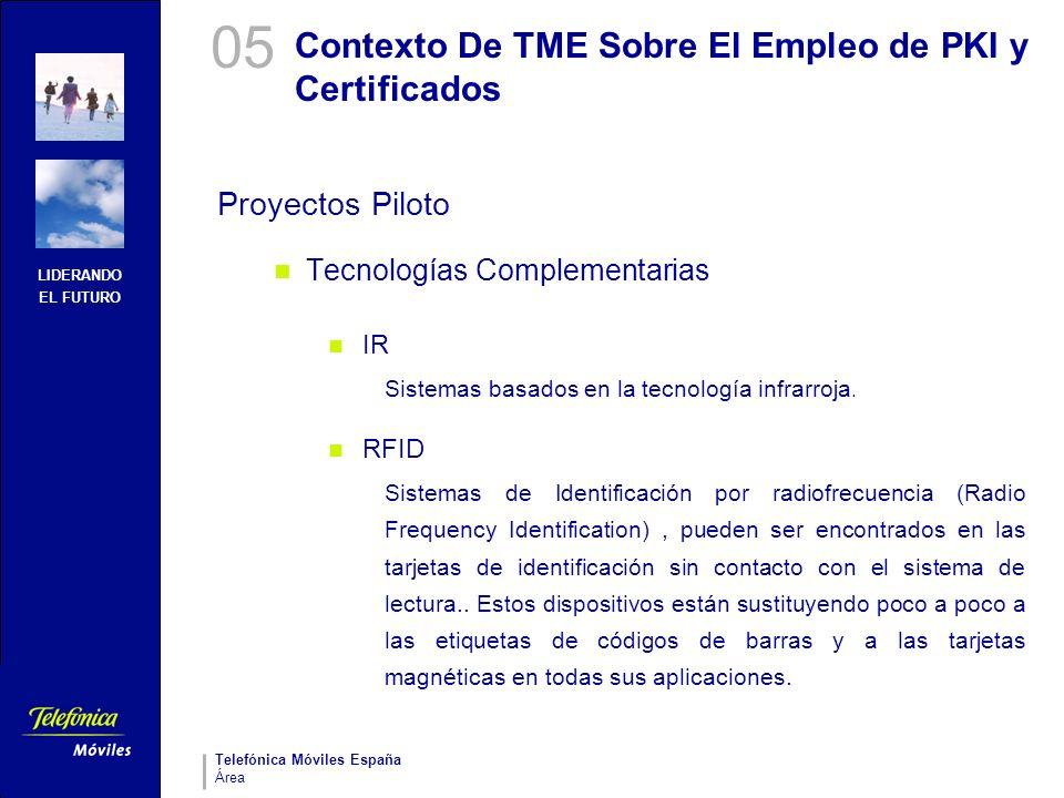 LIDERANDO EL FUTURO Telefónica Móviles España Área Contexto De TME Sobre El Empleo de PKI y Certificados Proyectos Piloto Tecnologías Complementarias
