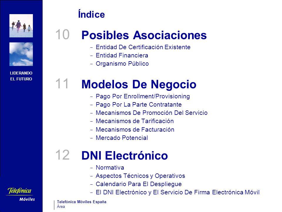 LIDERANDO EL FUTURO Telefónica Móviles España Área Índice 10 Posibles Asociaciones – Entidad De Certificación Existente – Entidad Financiera – Organis