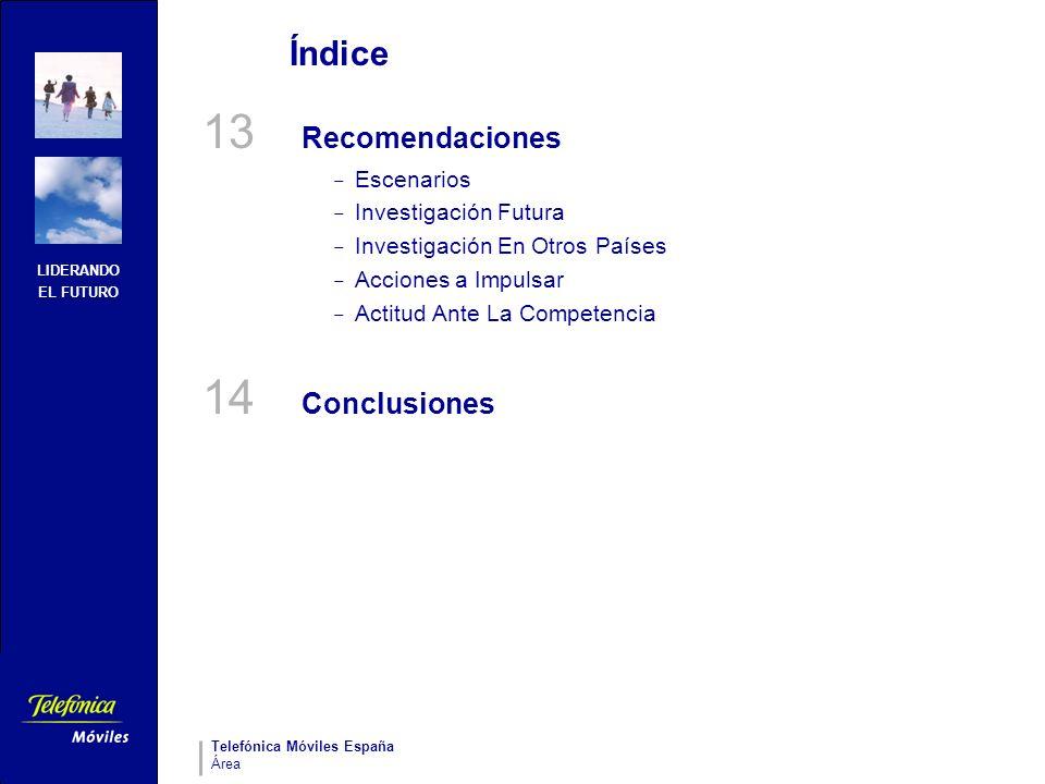 LIDERANDO EL FUTURO Telefónica Móviles España Área Índice 13 Recomendaciones – Escenarios – Investigación Futura – Investigación En Otros Países – Acc