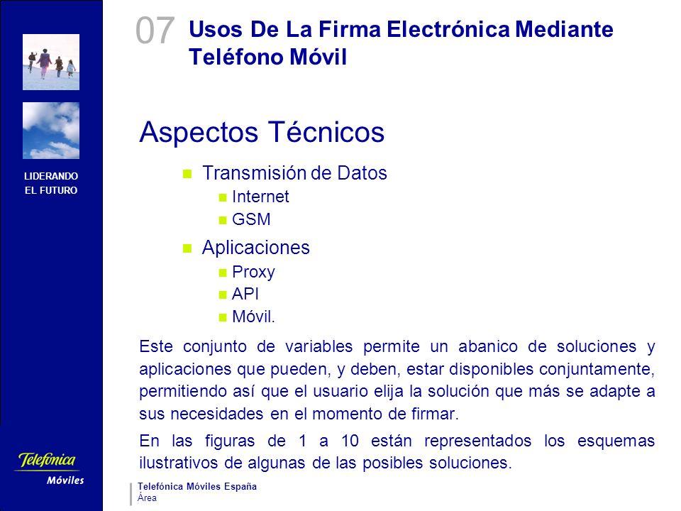 LIDERANDO EL FUTURO Telefónica Móviles España Área Usos De La Firma Electrónica Mediante Teléfono Móvil Aspectos Técnicos Transmisión de Datos Interne