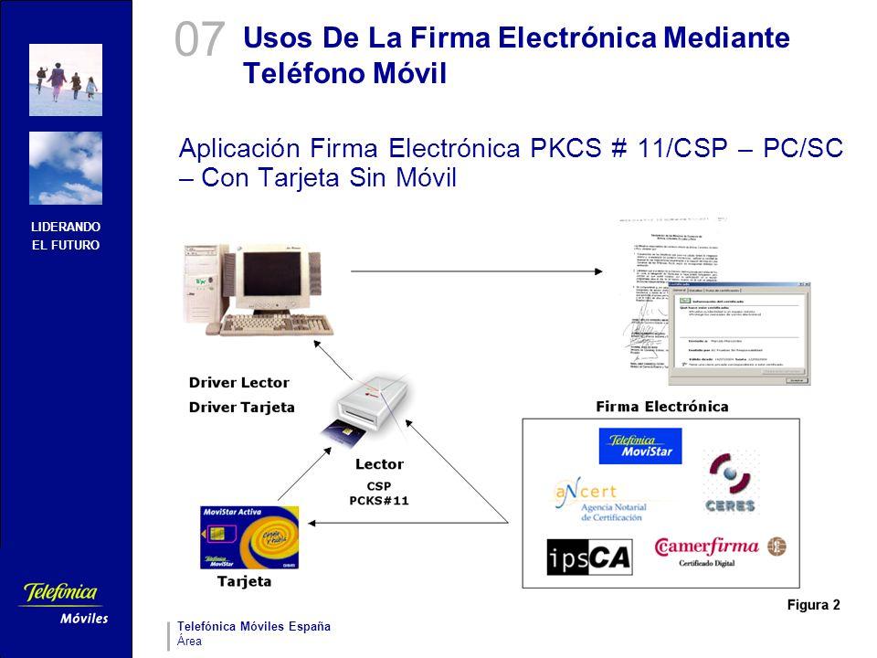 LIDERANDO EL FUTURO Telefónica Móviles España Área Usos De La Firma Electrónica Mediante Teléfono Móvil Aplicación Firma Electrónica PKCS # 11/CSP – P