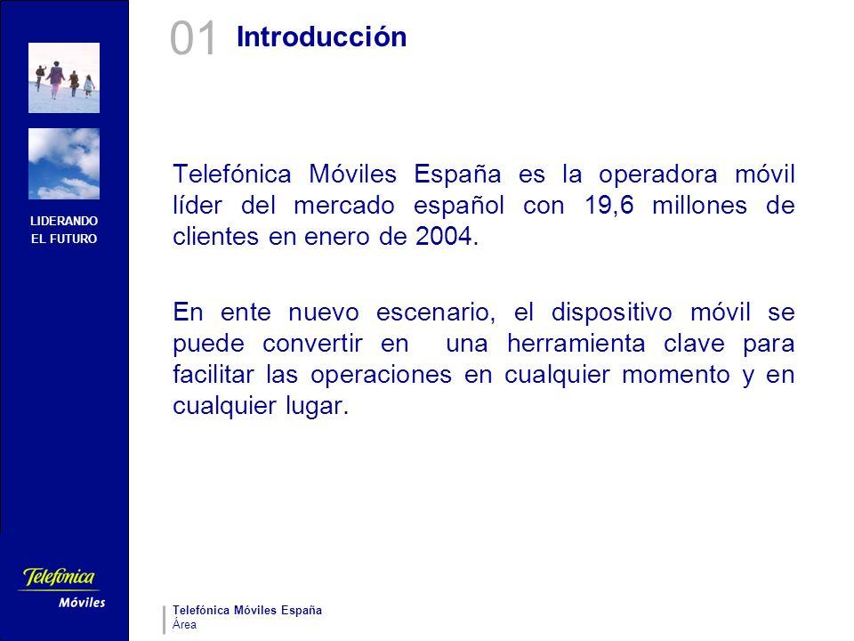 LIDERANDO EL FUTURO Telefónica Móviles España Área Introducción Telefónica Móviles España es la operadora móvil líder del mercado español con 19,6 mil