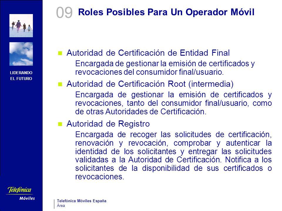 LIDERANDO EL FUTURO Telefónica Móviles España Área Roles Posibles Para Un Operador Móvil Autoridad de Certificación de Entidad Final Encargada de gest