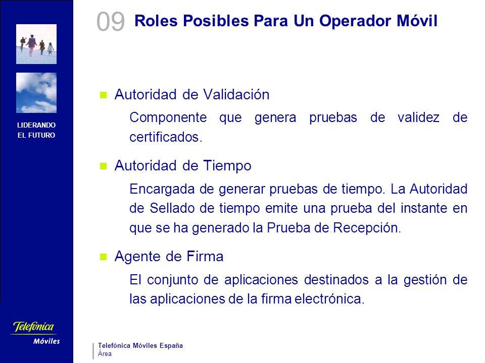 LIDERANDO EL FUTURO Telefónica Móviles España Área Roles Posibles Para Un Operador Móvil Autoridad de Validación Componente que genera pruebas de vali