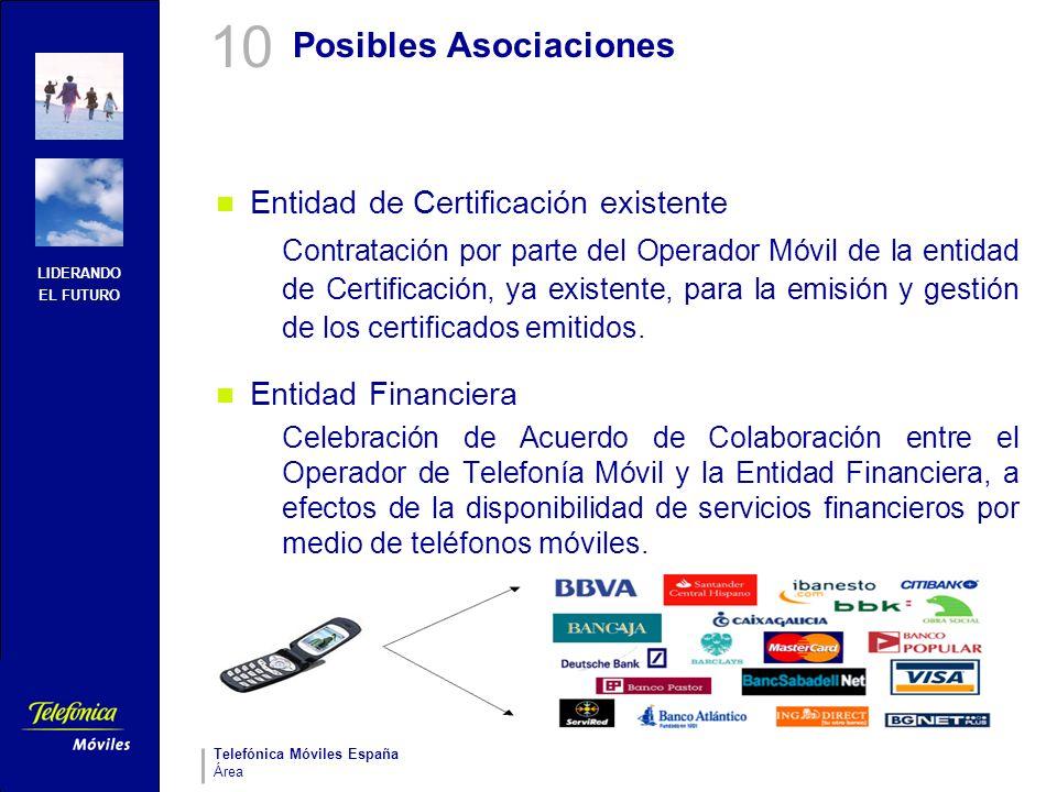 LIDERANDO EL FUTURO Telefónica Móviles España Área Posibles Asociaciones Entidad de Certificación existente Contratación por parte del Operador Móvil