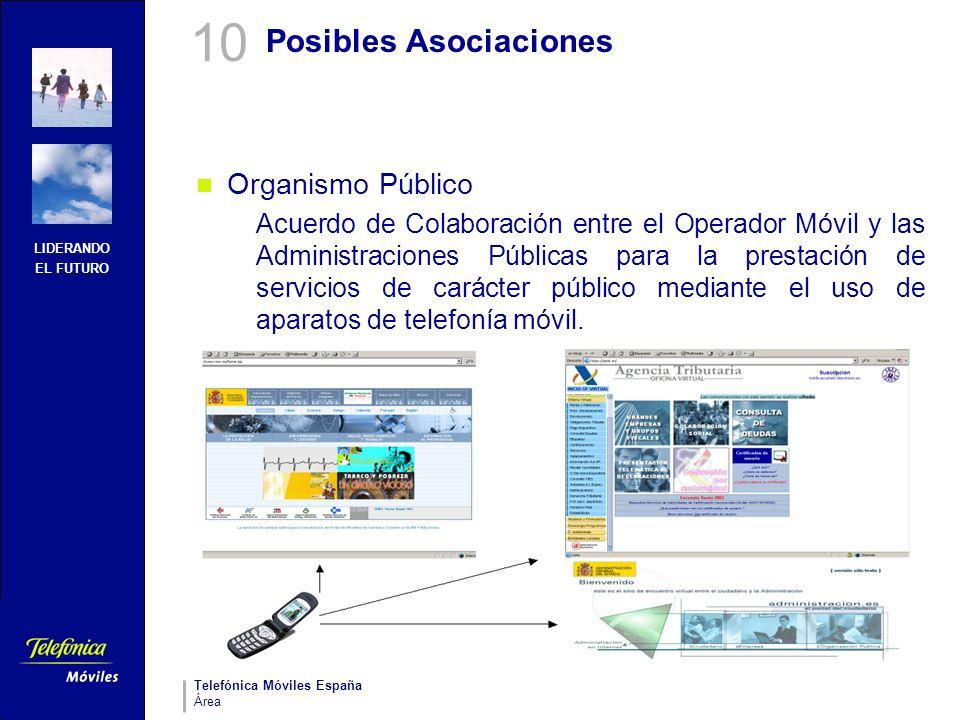 LIDERANDO EL FUTURO Telefónica Móviles España Área Posibles Asociaciones Organismo Público Acuerdo de Colaboración entre el Operador Móvil y las Admin