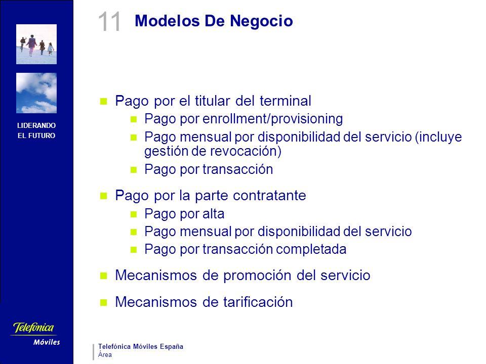 LIDERANDO EL FUTURO Telefónica Móviles España Área Modelos De Negocio Pago por el titular del terminal Pago por enrollment/provisioning Pago mensual p