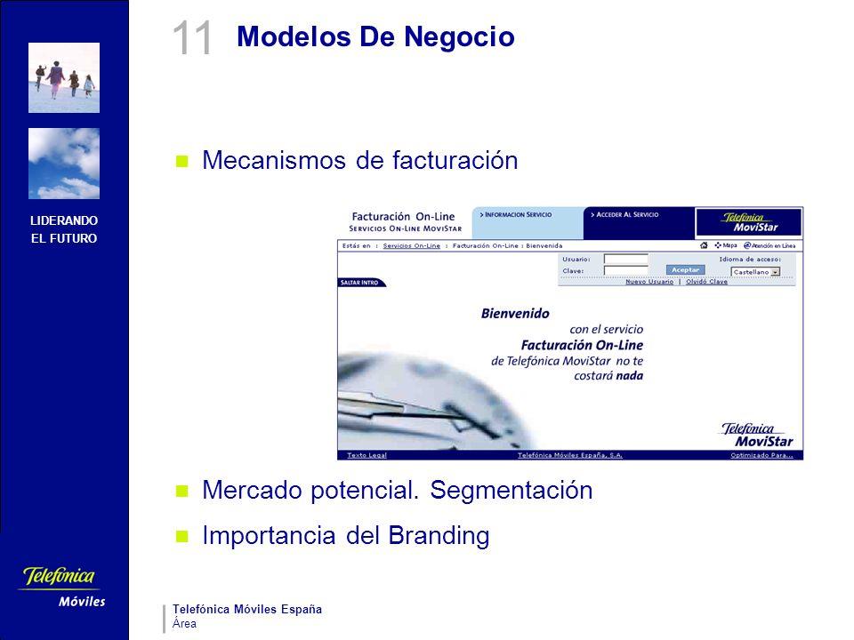 LIDERANDO EL FUTURO Telefónica Móviles España Área Modelos De Negocio Mecanismos de facturación Mercado potencial. Segmentación Importancia del Brandi