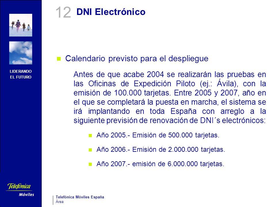 LIDERANDO EL FUTURO Telefónica Móviles España Área DNI Electrónico Calendario previsto para el despliegue Antes de que acabe 2004 se realizarán las pr