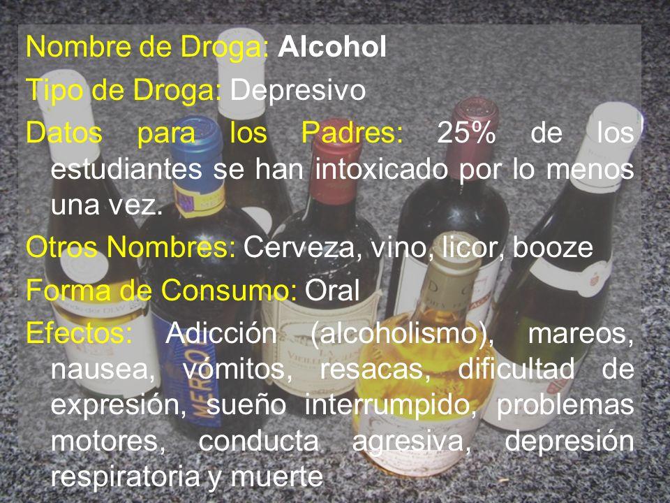 Nombre de Droga: Alcohol Tipo de Droga: Depresivo Datos para los Padres: 25% de los estudiantes se han intoxicado por lo menos una vez. Otros Nombres: