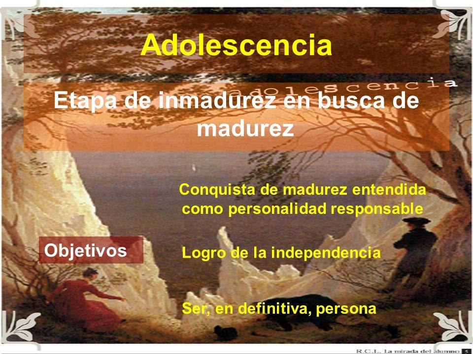 Adolescencia Etapa de inmadurez en busca de madurez Objetivos Conquista de madurez entendida como personalidad responsable Logro de la independencia S