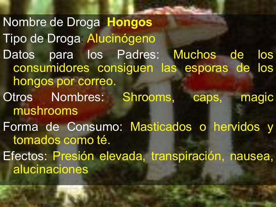 Nombre de Droga: Hongos Tipo de Droga: Alucinógeno Datos para los Padres: Muchos de los consumidores consiguen las esporas de los hongos por correo. O