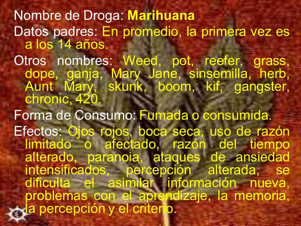 Nombre de Droga: Marihuana Datos padres: En promedio, la primera vez es a los 14 años. Otros nombres: Weed, pot, reefer, grass, dope, ganja, Mary Jane