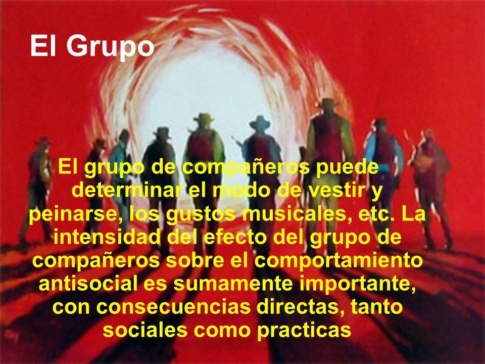 El Grupo El grupo de compañeros puede determinar el modo de vestir y peinarse, los gustos musicales, etc. La intensidad del efecto del grupo de compañ