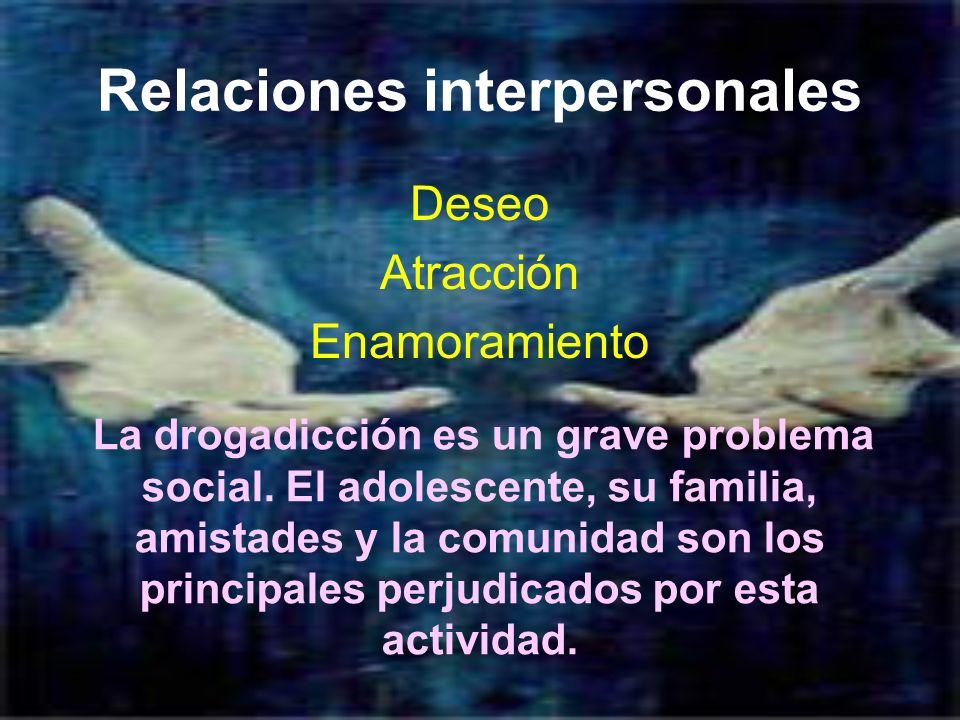 Relaciones interpersonales Deseo Atracción Enamoramiento La drogadicción es un grave problema social. El adolescente, su familia, amistades y la comun