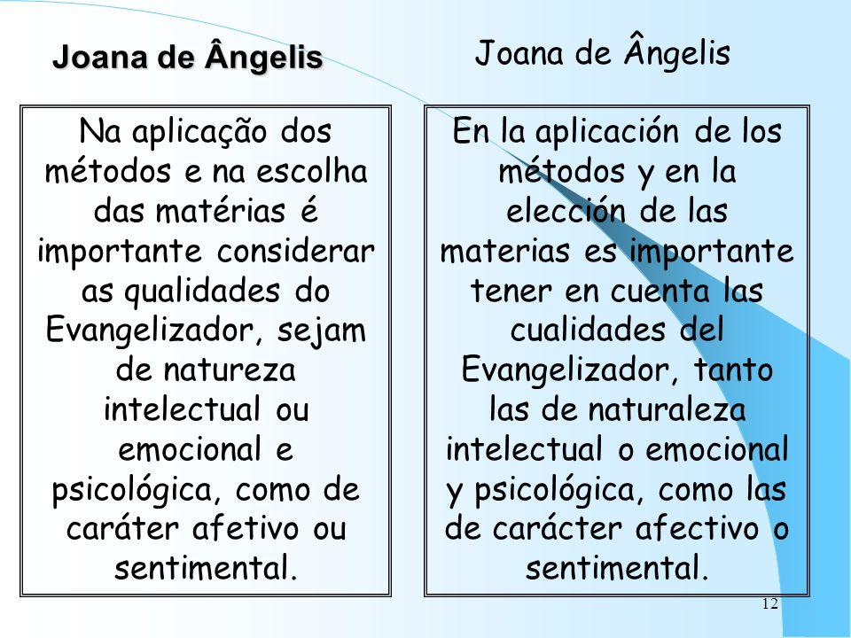 12 Joana de Ângelis Na aplicação dos métodos e na escolha das matérias é importante considerar as qualidades do Evangelizador, sejam de natureza intel