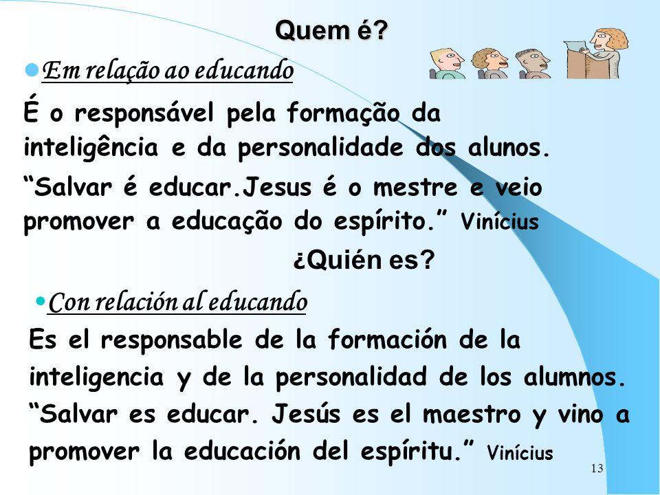 13 Quem é? Em relação ao educando É o responsável pela formação da inteligência e da personalidade dos alunos. Salvar é educar.Jesus é o mestre e veio