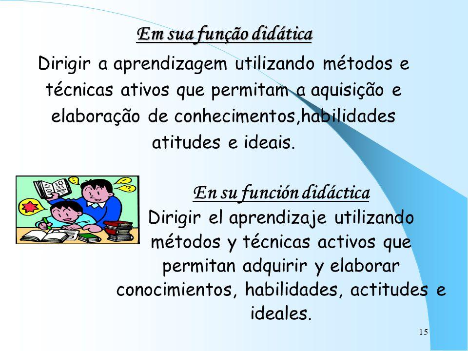 15 Em sua função didática Dirigir a aprendizagem utilizando métodos e técnicas ativos que permitam a aquisição e elaboração de conhecimentos,habilidad