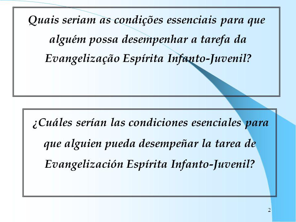 2 Quais seriam as condições essenciais para que alguém possa desempenhar a tarefa da Evangelização Espírita Infanto-Juvenil? ¿Cuáles serían las condic