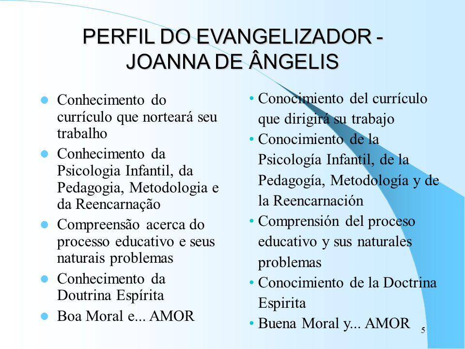 5 PERFIL DO EVANGELIZADOR - JOANNA DE ÂNGELIS Conhecimento do currículo que norteará seu trabalho Conhecimento da Psicologia Infantil, da Pedagogia, M