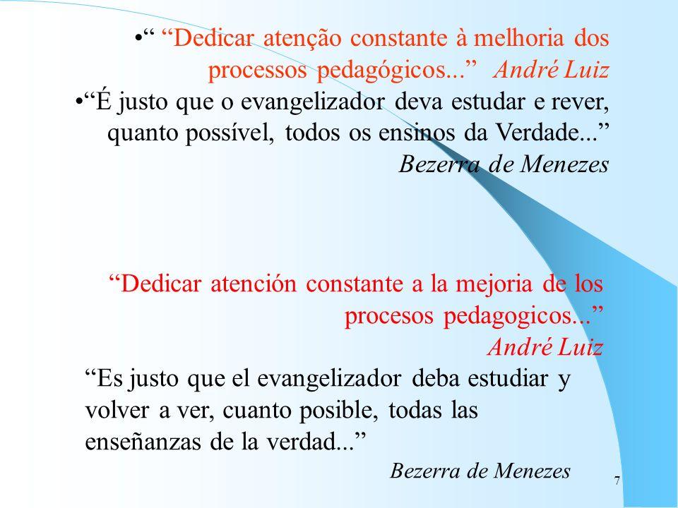 7 Dedicar atenção constante à melhoria dos processos pedagógicos... André Luiz É justo que o evangelizador deva estudar e rever, quanto possível, todo