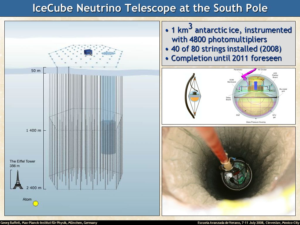 Georg Raffelt, Max-Planck-Institut für Physik, München, Germany Escuela Avanzada de Verano, 7-11 July 2008, Cinvestav, Mexico-City IceCube Neutrino Telescope at the South Pole 1 km 3 antarctic ice, instrumented 1 km 3 antarctic ice, instrumented with 4800 photomultipliers with 4800 photomultipliers 40 of 80 strings installed (2008) 40 of 80 strings installed (2008) Completion until 2011 foreseen Completion until 2011 foreseen