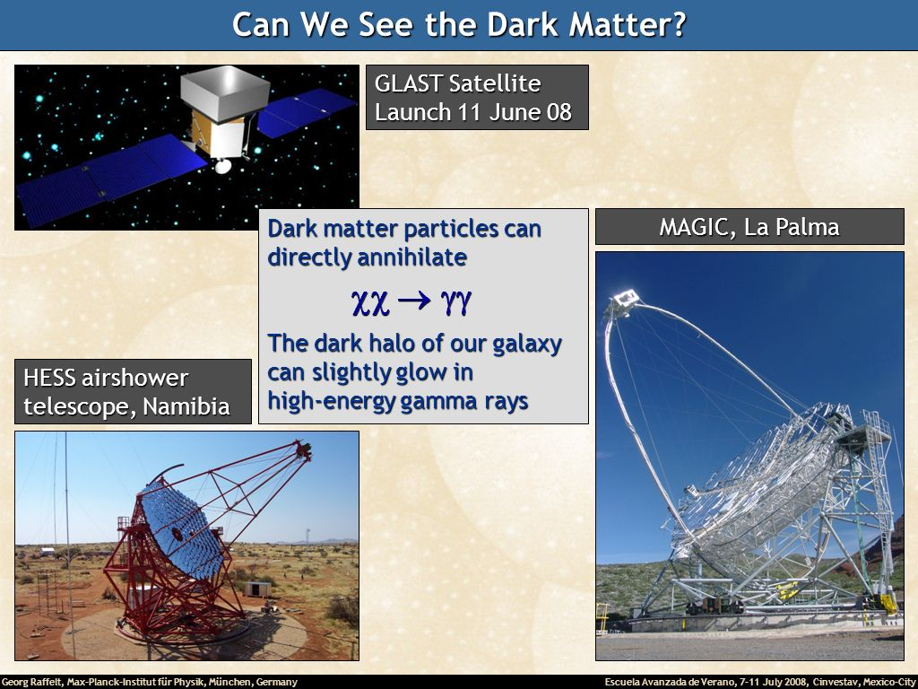 Georg Raffelt, Max-Planck-Institut für Physik, München, Germany Escuela Avanzada de Verano, 7-11 July 2008, Cinvestav, Mexico-City Can We See the Dark Matter.