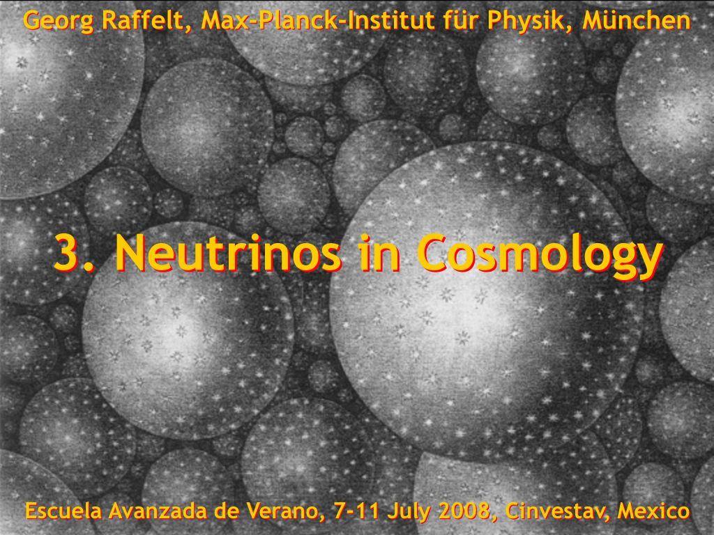 Georg Raffelt, Max-Planck-Institut für Physik, München, Germany Escuela Avanzada de Verano, 7-11 July 2008, Cinvestav, Mexico-City Search for Neutralino Dark Matter Direct Method (Laboratory Experiments) Crystal Energydeposition Recoil energy (few keV) is measured by Ionisation Ionisation Scintillation Scintillation Cryogenic Cryogenic Galactic dark matter particle(e.g.neutralino) Indirect Method (Neutrino Telescopes) Sun Sun Galactic dark matterparticles are accreted AnnihilationHigh-energyneutrinos(GeV-TeV) can be measured